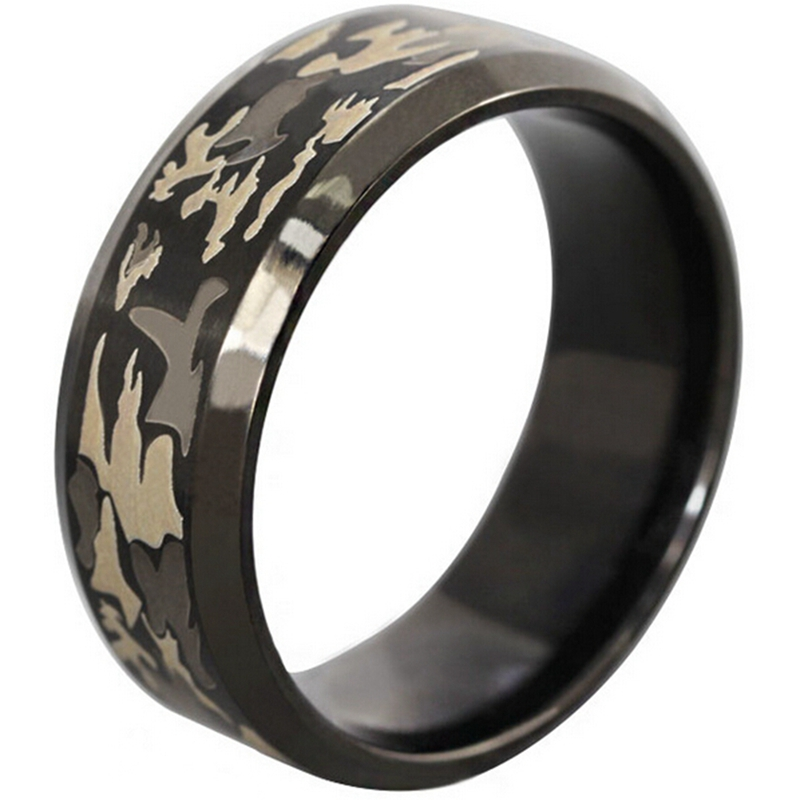 8mm size 7 14 black stainless steel rng outdoor forest camouflage camo hunting sports biker wedding school - Sports Wedding Rings