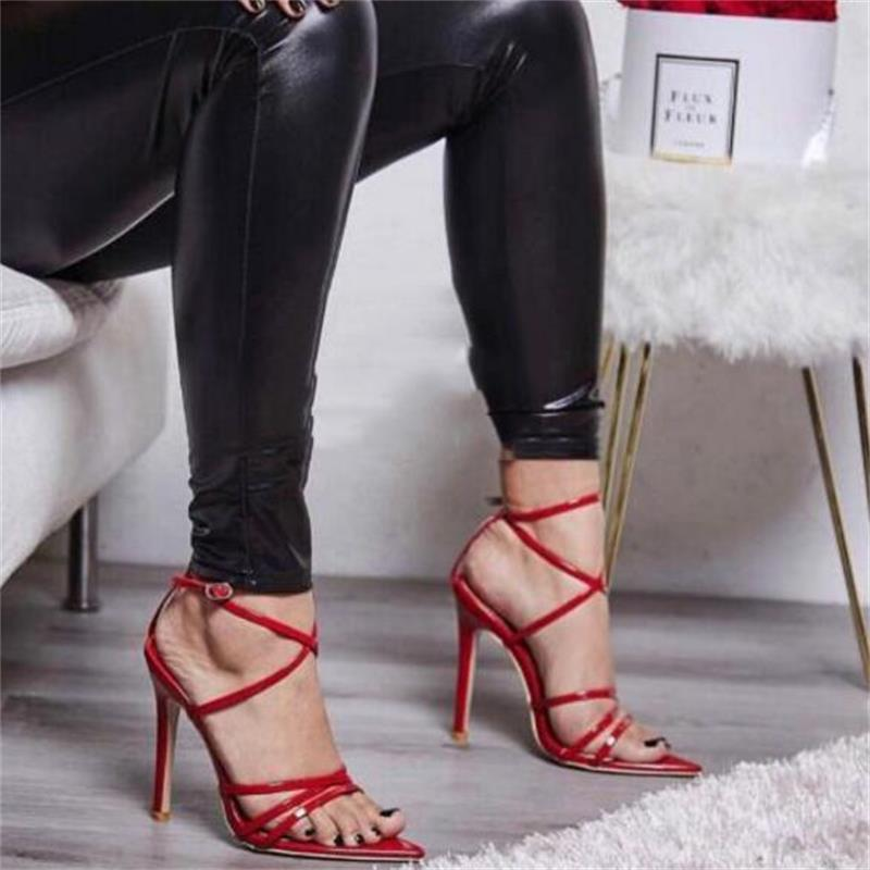 HiHopGirls Summer new Rome Pointed Thin band Pumps Women Sandals sexy High Heels fashion T-shaped buckle peep toe Woman Shoes summer new pointed thick chunky high heels closed toe pumps with buckle ankle wraps sweet sandals women pink black gray 34 40