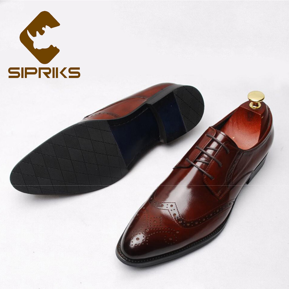 d7cc0bf7f8d03 Sipriks Retro Burgundy Cow Leather Brogue Shoes Elegant Black Wingtip Dress  Shoes Men S Formal Tuxedo Gents