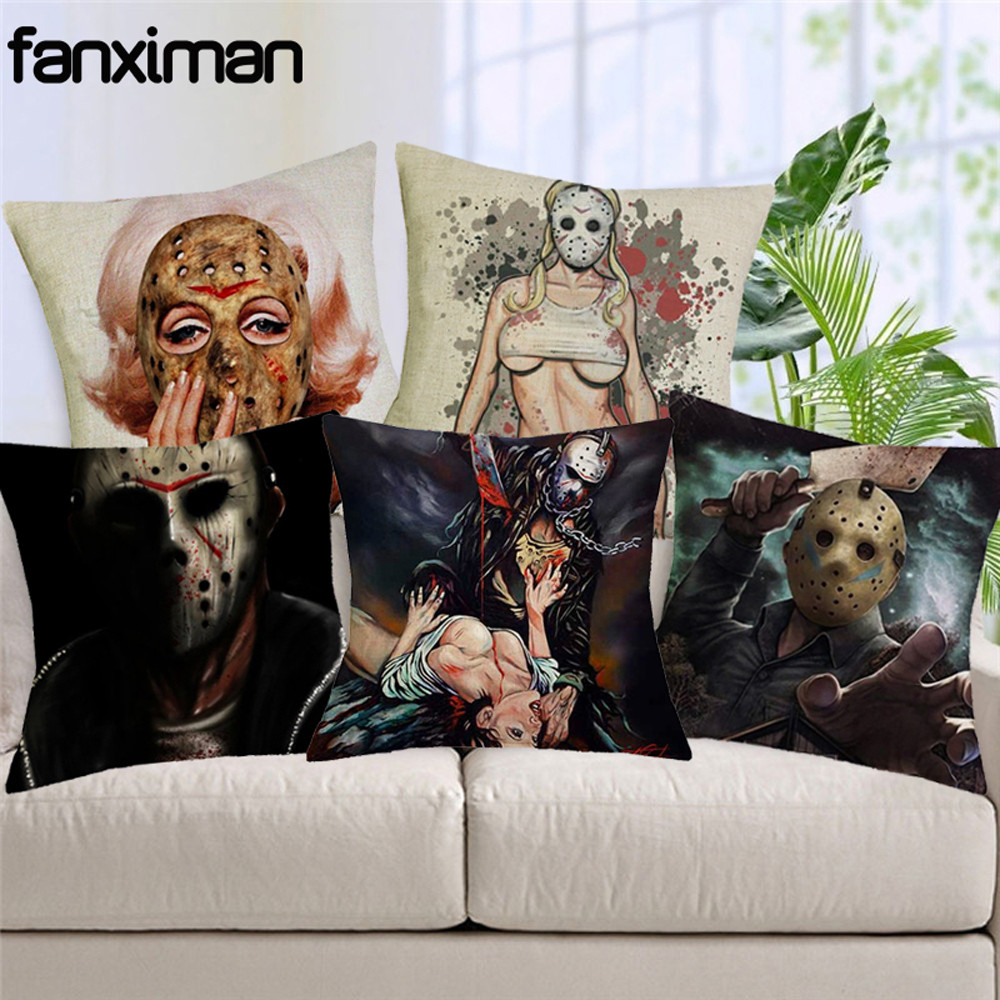 Linen Square Cushion Cover Horror Movie Murderers Pillow Cover Home Decor Sofa Car Seat Cushions Throw Pillow housse de coussin