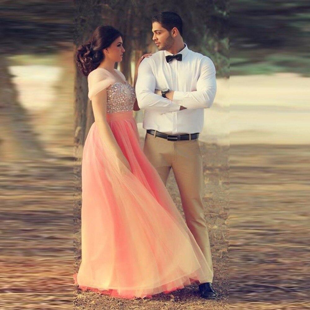 Romantic Crystal Peach Color Ball Gowns Shiny Stone Organza Elegant ...