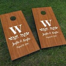 Custom Wedding Cornhole Board Decals Set Of Two Wedding Monogram Sign Game Sticker DIY Design Decor Removable Murals WE24 brybelly holdings sout 103 touchdown toss cornhole set