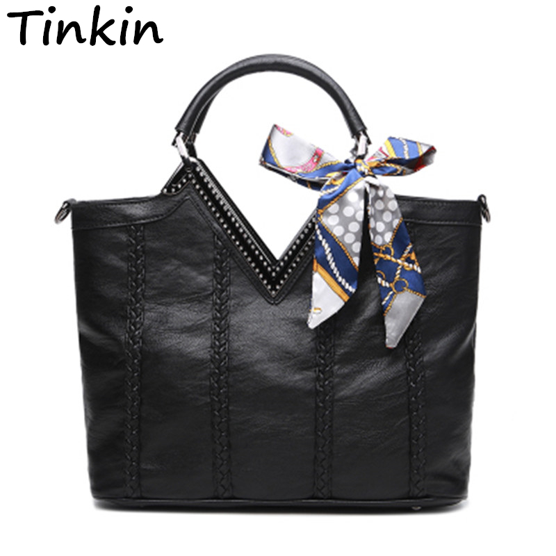 Tinkin Women Vintage PU Shoulder Bags Female Daily Shopping Handbags Lady All-Purpose Causal Totes Classy Bowknot Dames Tassen