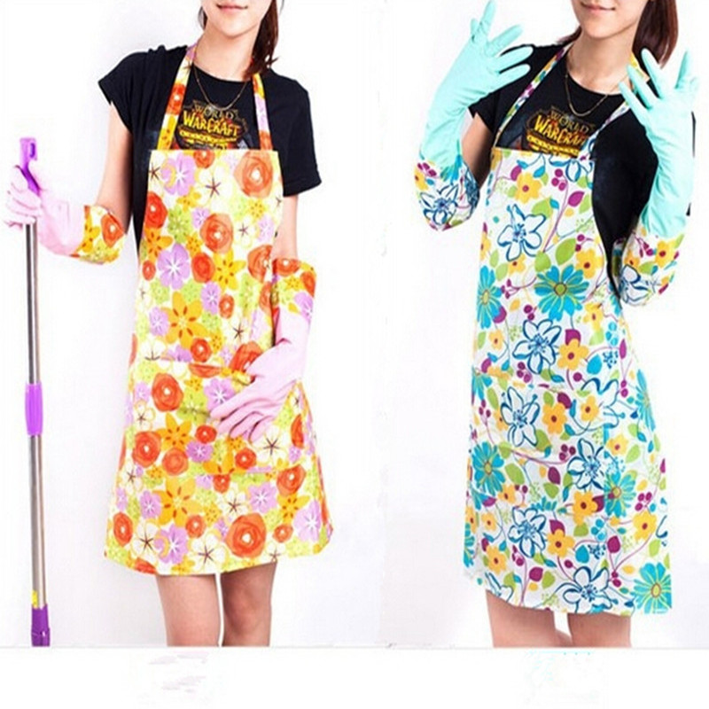 Flower Printing Fashion Women Plastic Kitchen Aprons Cleaning Cooking Cheap  Aprons Goodhelper Chef Aprons For Woman