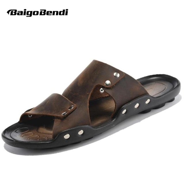 43b3287292a EUR 38-44 New Leather Casual Slipper Flip Flop Thongs Sandal Slides Mens  Summer Outdoor Shoes