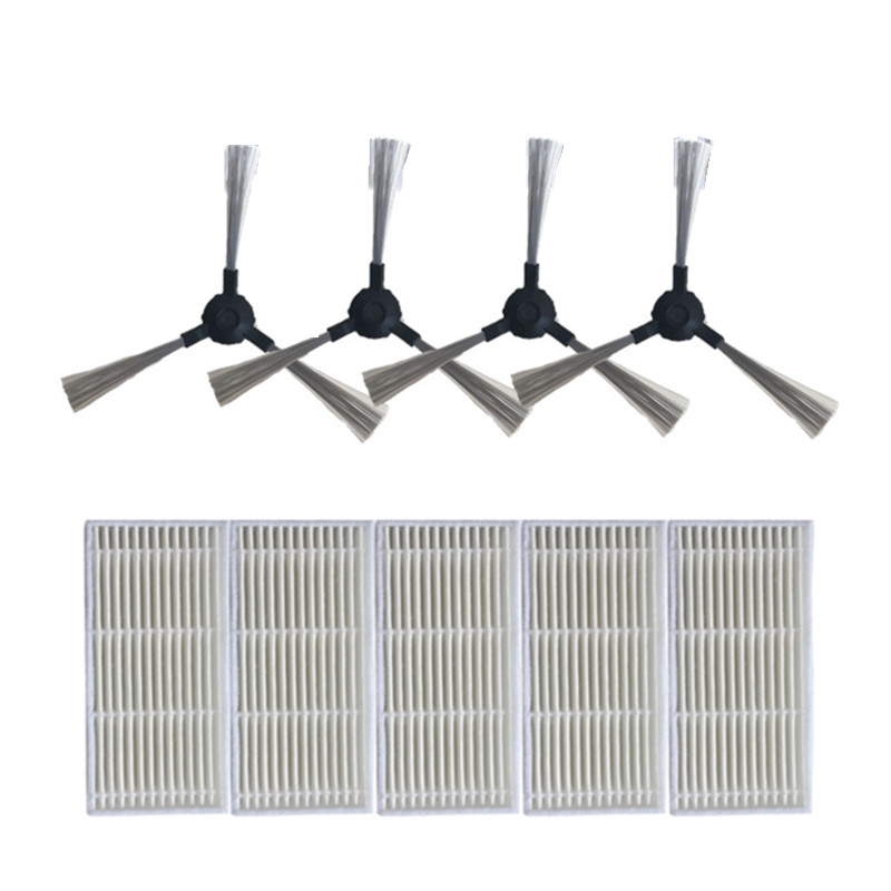 5x robot HEPA filter + 4x Side Brush for KITFORT KT-516 kt 516 Robotic Vacuum Cleaner Accessories Parts 1 piece robot brush motor belt for neato botvac series 70e 75 80 85 robotic vacuum cleaner brush drive parts