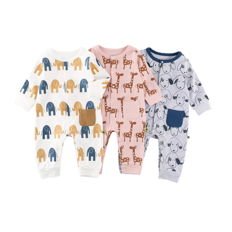 Fashion Newborn Infant Rompers Cotton Soft Long Sleeve Jumpsuit For 0-18 Month Clothing Kids Cartoon Animal Romper Outfits