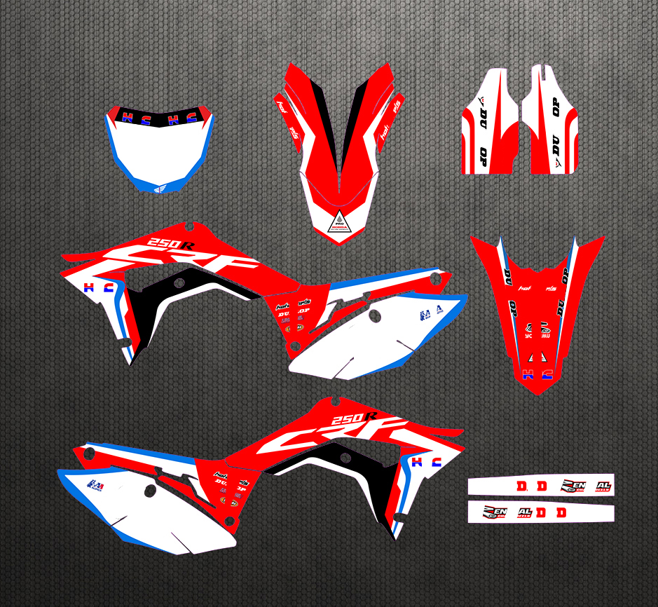Full Set Sticker Kit Customizable Number Graphics Backgrounds Decals For Honda CRF250R 2018 2019 CRF 250 450 R CRF450R 2017-2019