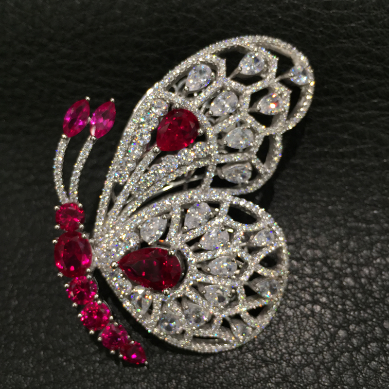 Red white Butterfly Brooch 925 sterling silver with cubic zircon top quality Romantic Fashion women jewelry xmas white tank top 2nd sparkle red birthday number with red snowflakes ruffles