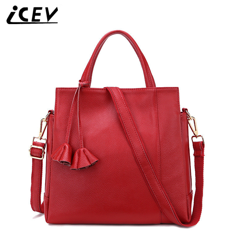 ICEV 100% Cowhide Designer Flower Bags Handbags Women Famous Brands High Quality Genuine Leather Totes Women Leather Handbag Sac kzni women genuine leather embossed bags handbags women famous brands designer handbags high quality pochette sac a main 8568