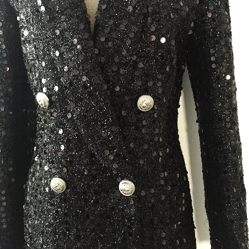 2019 European American Star Blast Outer Skirt Double Row Lion Buckle Bright Silk Shiny Beads Medium Long Suit Black Jackets Coat