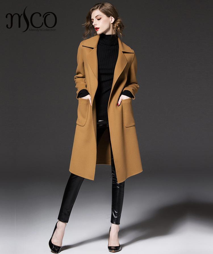 2016 Winter 50 Wool Blend Women Coat Classic Fit Warm Tie