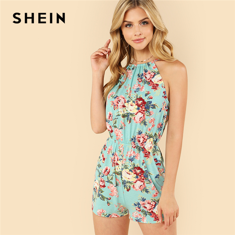 SHEIN Multicolor Vacation Bohemian Beach Floral Print Backless Halter Sleeveless High Waist   Jumpsuit   Summer Women Sexy   Jumpsuit