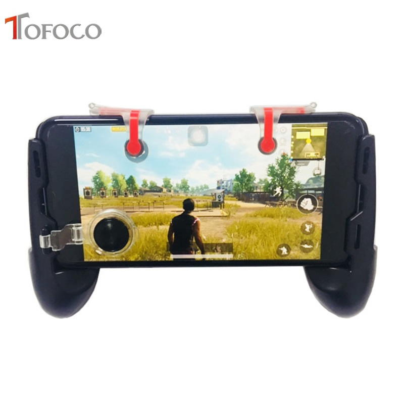 4 in 1 Mobile Game Controller Gamepad + L1 R1 Trigger Aim Button L1R1 Shooter + Touch Pad Joystick for iPhone Phone Gaming