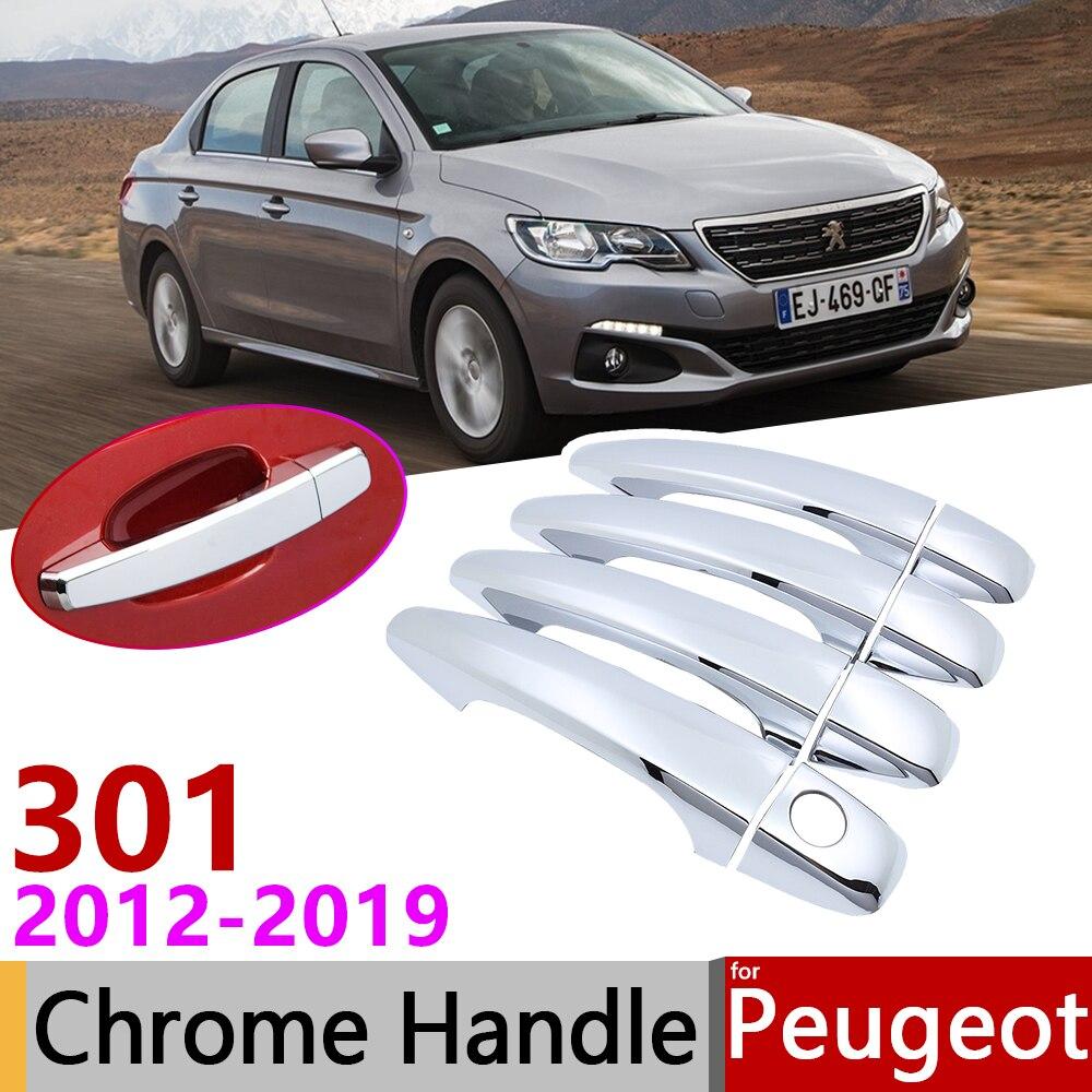 for Peugeot 301 2012~2019 Chrome Exterior Door Handle Cover Car Accessories Stickers Trim Set 2013 2014 2015 2016 2017 2018