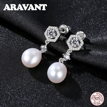 New Fashion Pearl Earrings 925 Sterling Silver Natural Freshwater Pearl Inlaid Zircon Stud Earrings For Women Jewelry Gifts