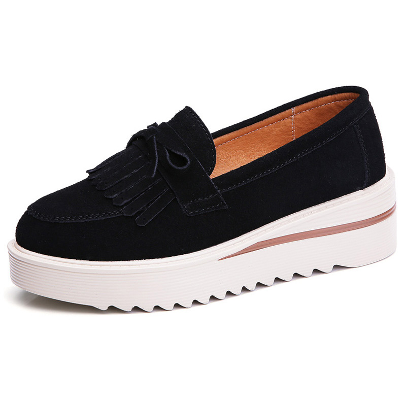 2019 Spring Casual Oxford Shoes For Women   Leather     Suede   Flat Shoes Women Platform Sneakers Fringe Slip On Creepers Ladies Shoes