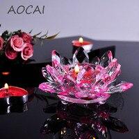 Różowe Szkła Kryształowego Lotus Flower kolumny ślubne centerpieces świecznik Świeczniki Świecznik Holder Home Decor miska
