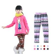 Popular print flower Girls leggings kids winter plus velvet pants chindren skinny