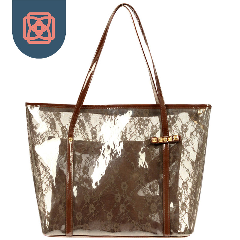 Lady Printing Flower Handbags Designer Tote Bag See Through Shoulder Bags Clear Transparent Jelly In From Luggage On Aliexpress