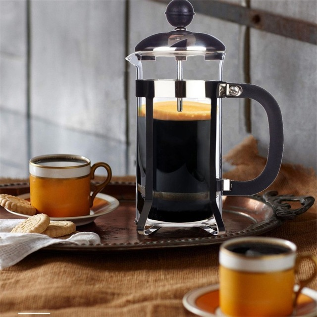 350ML Compact Size Household Use Stainless Steel Glass French Press Pot Filter Cafetiere Tea Coffee Maker Coffee Tool 2