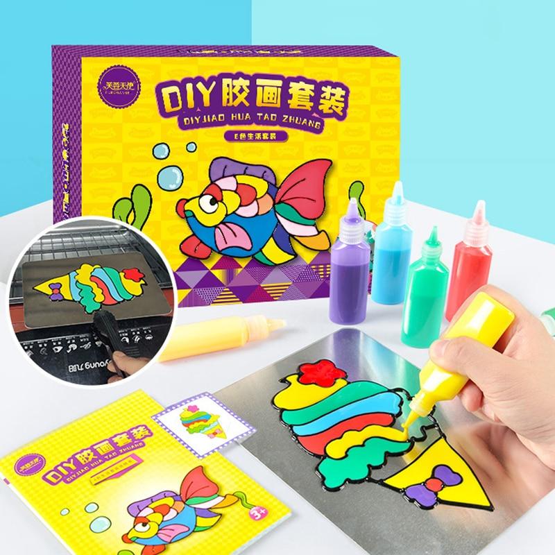 Kids DIY Drawing Toys Cartoon Glue Tempera Painting For Kindergarten Art Craft Baby Toys Child Birthday Toys For Children