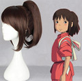 FREE SHIPPING and free caps Anime Spirited Away Ogino Chihiro Brown Full Lace Cosplay Wig Hair can blanching