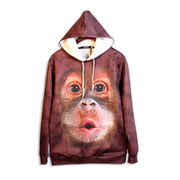 Hot Big Face Baby Orangutan 3D Print Hoodies Front Pocket Hoody Drawstring Sweatshirt Pullover Unisex Outerwear