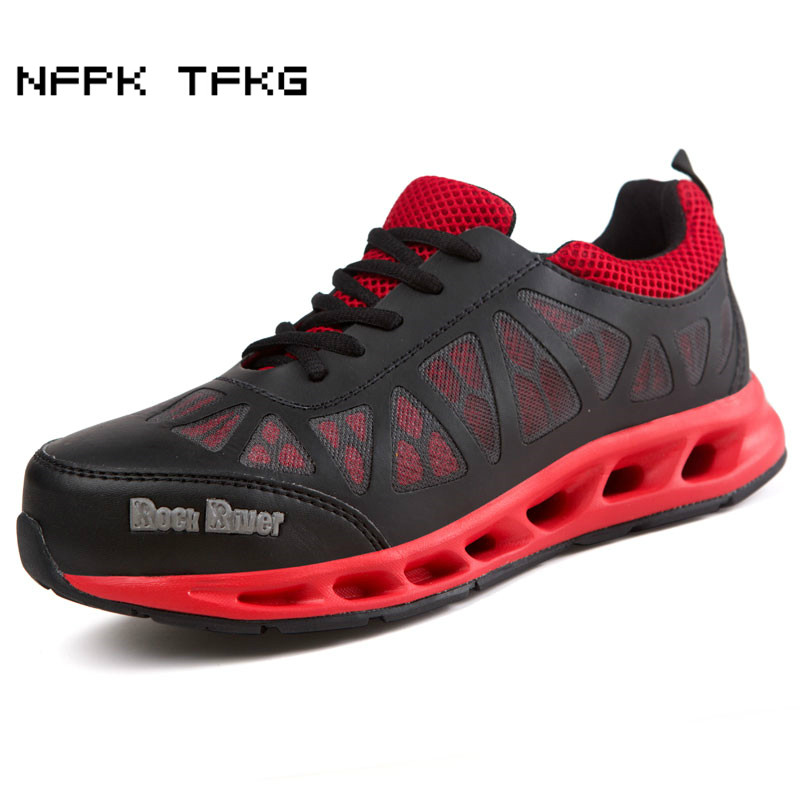 mens breathable steel toe covers working safety summer shoes outdoor tooling ankle boots lace protective zapatos hombre platform
