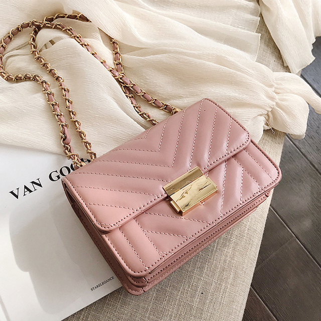 ETAILL Pink PU Leather Quilted Bag with Gold Chain Women Crossbody Shoulder Bags Lady Designer Brand Plaid Women Messenger Bags