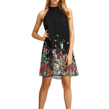 New Womens Floral Print Mini Dress 2017 Summer Round Neck Sleeveless Casual Clothing Cut Away Shift