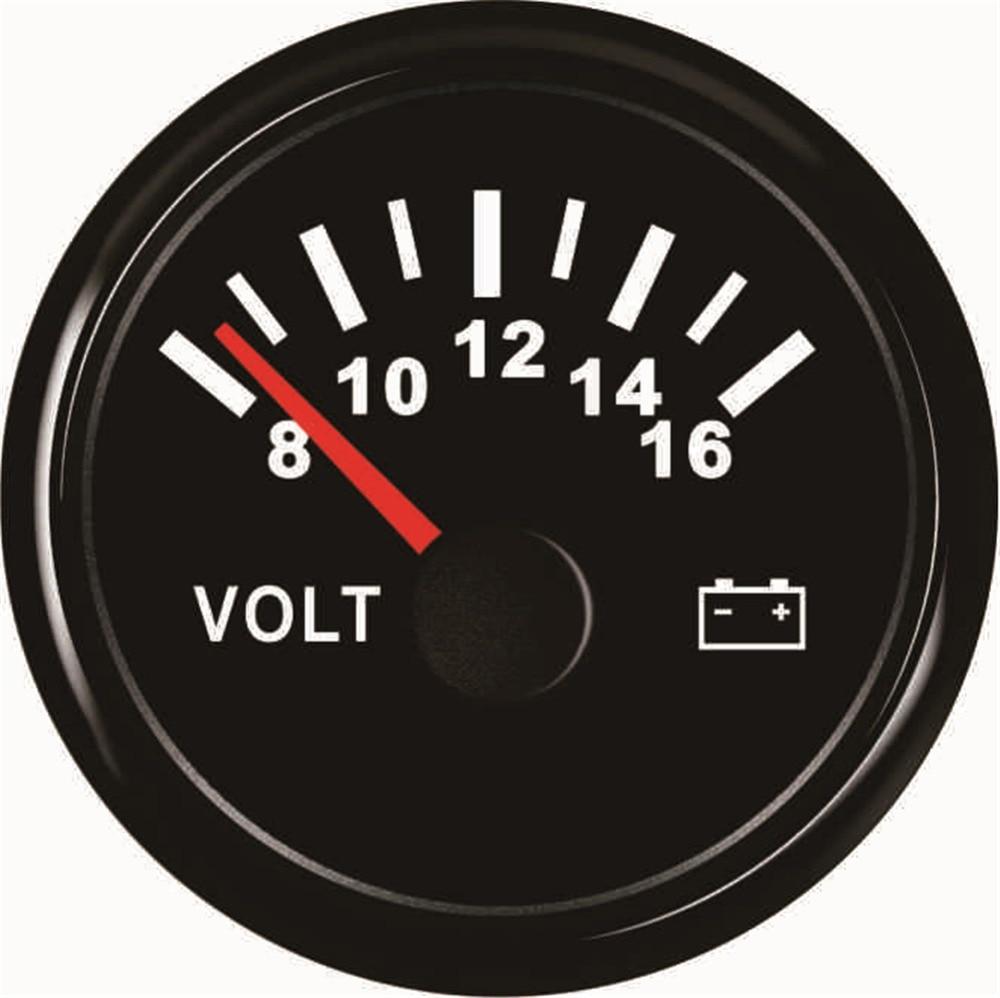 1pc Pointer Type Voltmeters 52mm Volt Meters 8 16v Waterproof Voltage Gauges Suitable for Car Boat Truck Generating Units