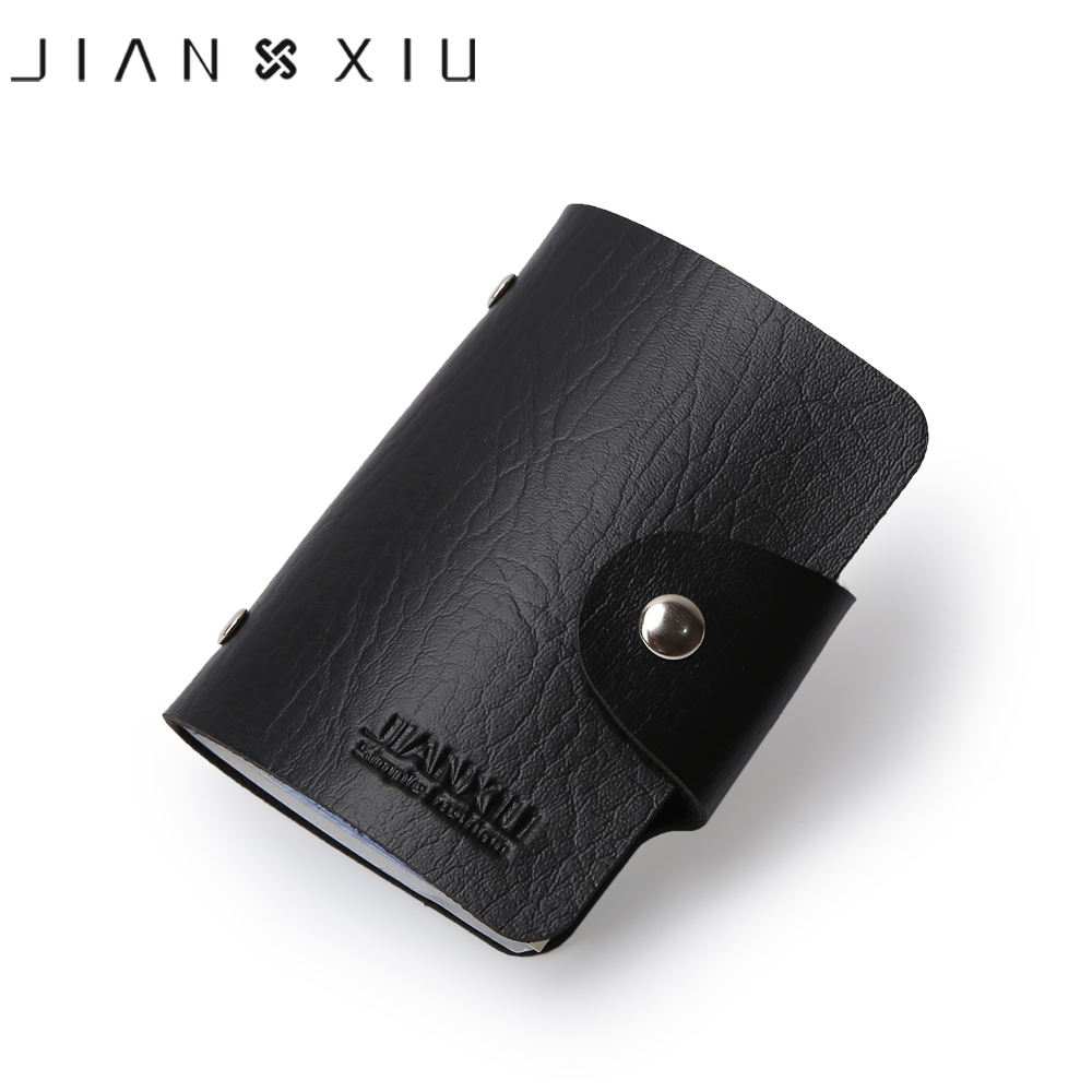 JIANXIU Brand PU Leather Card Case Business Card Holder Men Women Credit Card Bag 2019 Multi - Bit Design ID Card Bags 2 Colors