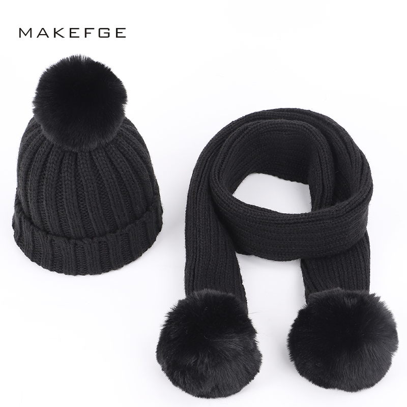 Children's Knit Cotton Hats Scarf Warm Pompoms Solid Color Fashion Autumn Winter Boys Girls Caps Ski Scarf Mask Glove Sets Kids