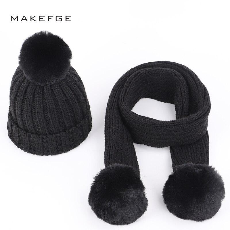 Children's Knit Cotton Hats Scarf Warm Pompoms Solid Color Fashion Autumn Winter Boys Girls Caps Ski Scarf Mask Glove Sets Kids