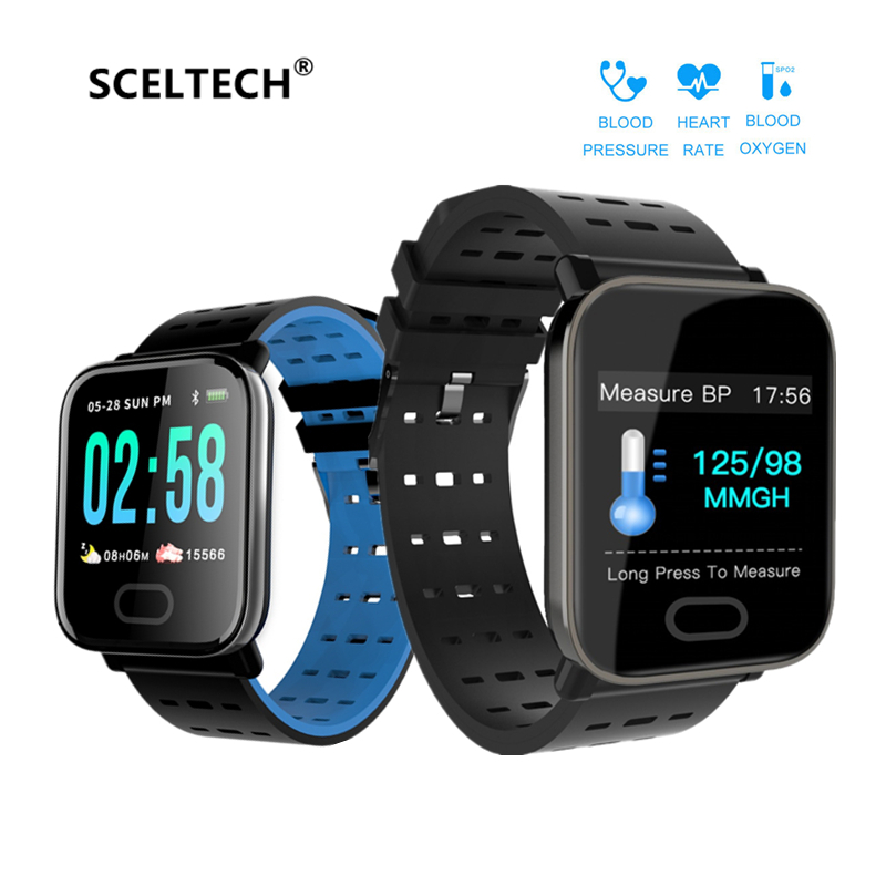 SCELTECH A6 Smart Watch Heart Rate Monitor Sport Band Fitness Tracker Blood Pressure Call Reminder Men Watch for iOS Android