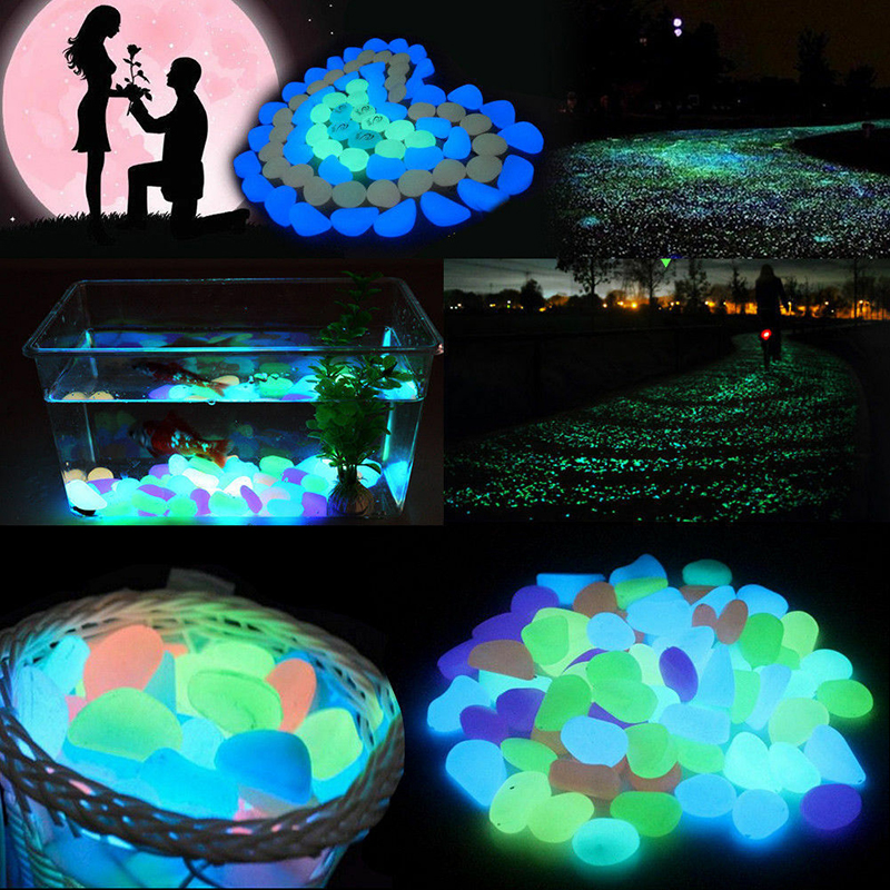 500pcs Glowing Stones Garden Glow In The Dark Stones Rocks Garden Road Pebbles Rock Fish Tank Aquarium Decor Garden Ornaments