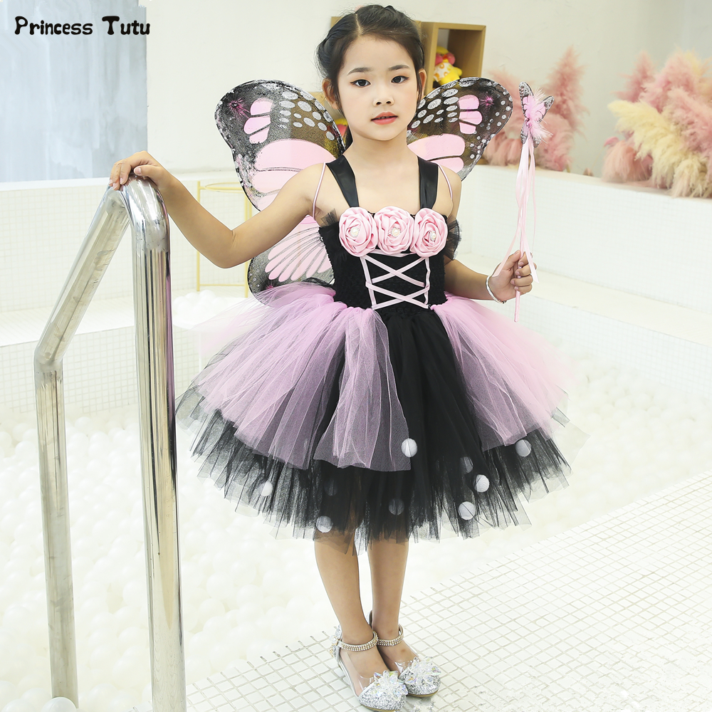 dda9ea9e5dbfd Pink & Black Monarch Butterfly Tutu Dress Princess Kids Party Dresses for  Girls Tulle Flower Dress Halloween Fairy Costume 1-14Y