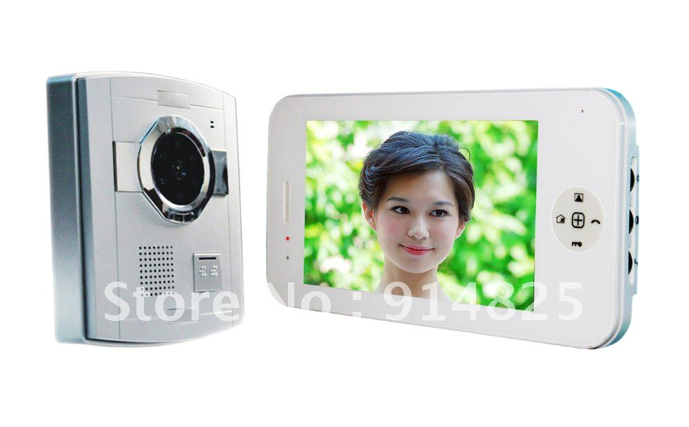Free Shipping + Top Selling 7 Inch TFT Color Handfree Plastic Camera  Video Door Phone Intercom Systems Night Vision6 LED Lights