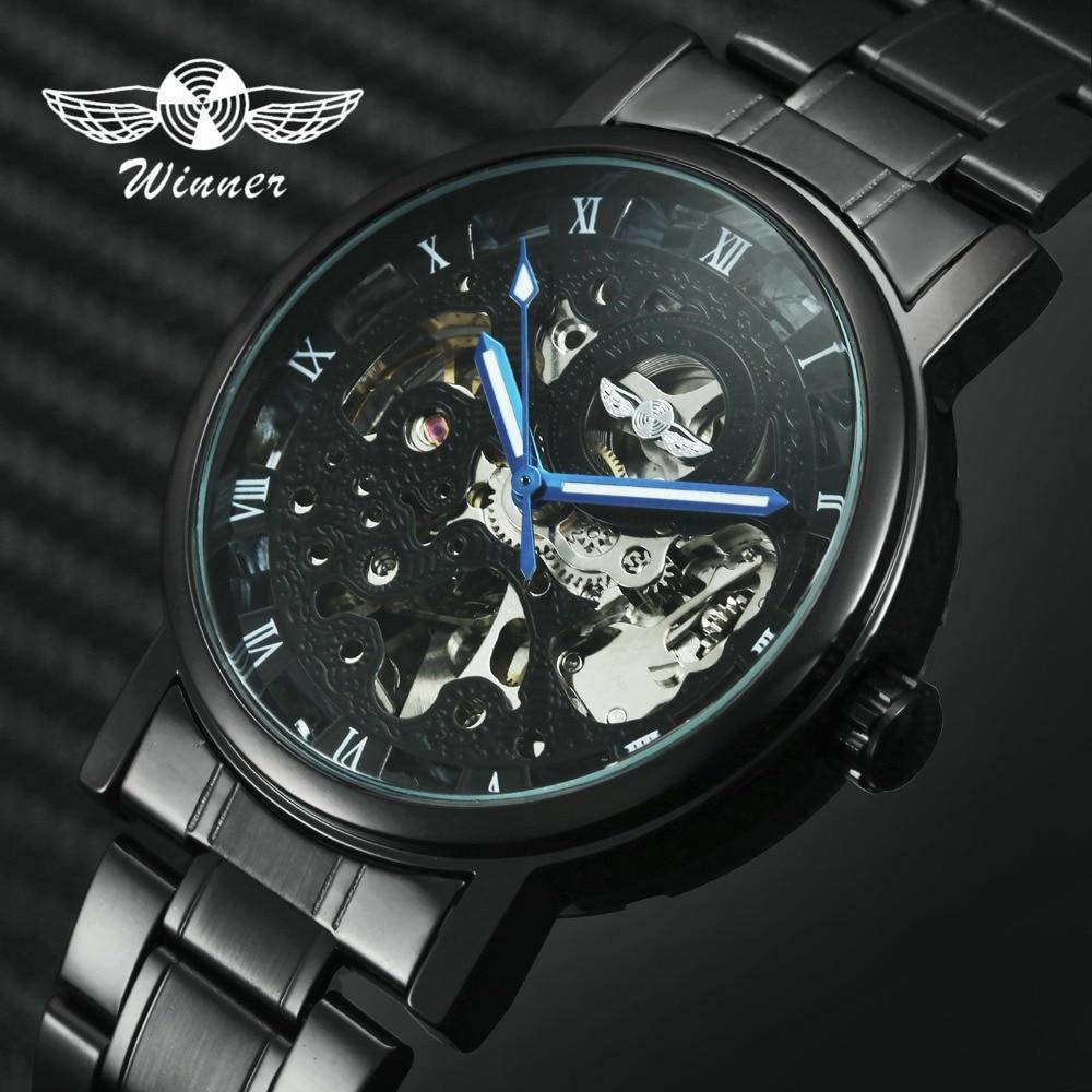 WINNER Pánské hodinky Classic Black Mechanické hodinky Cool Black - Pánské hodinky