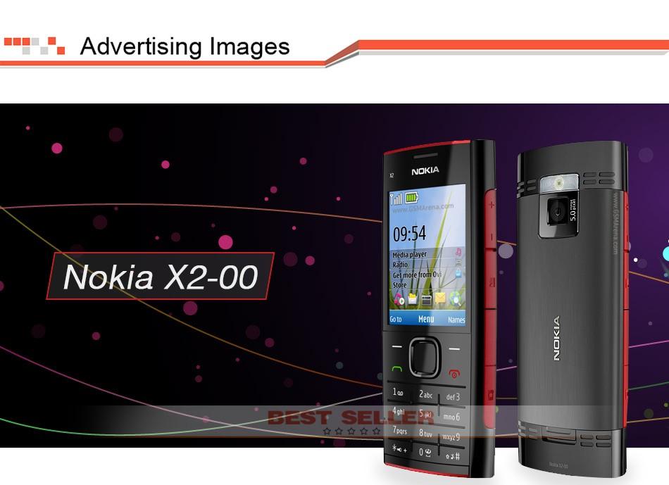 Refurbished phone Nokia X2-00 Bluetooth FM JAVA 5MP Cell Phones Free Shipping black 1