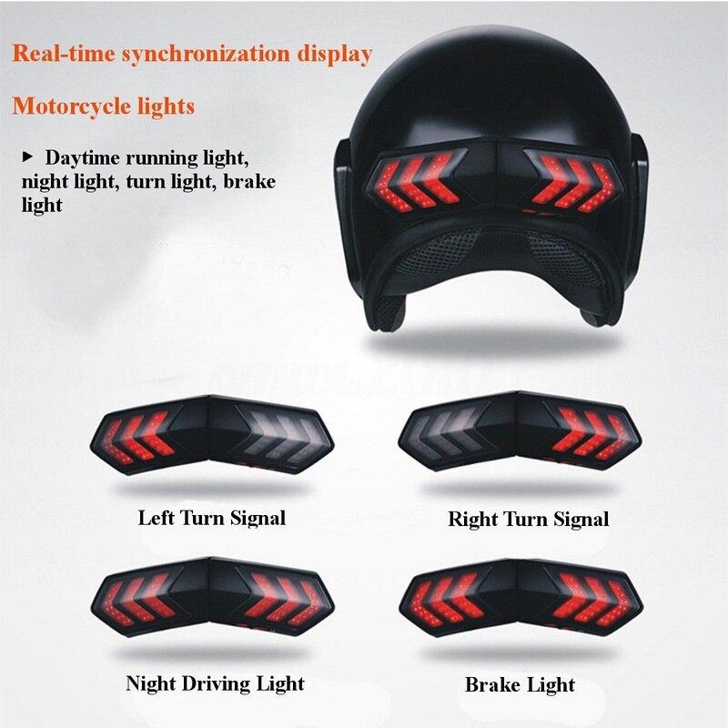 12V Wireless Motorcycle Turn Signals LED Brake Smart Helmet Light ABS Shell Safety Running Lights Turn