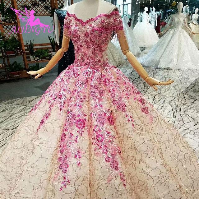 AIJINGYU לקנות חתונה שמלות שמלות תחת 500 גב פתוח מלכת אשליה איטלקי וגאס חתונות מוסלמי שמלת כלה