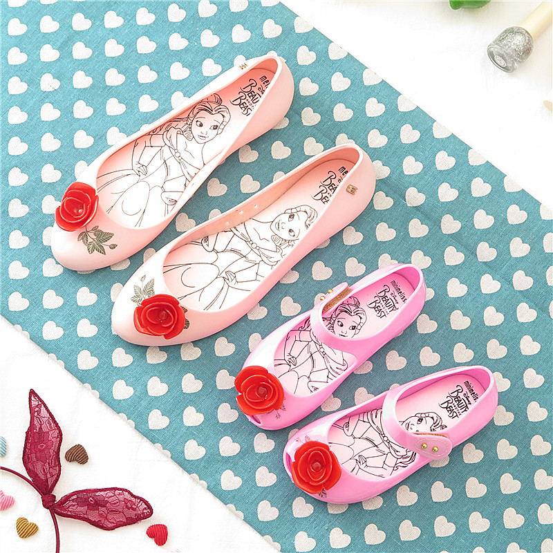 Melissa Original Beauty Beast Red Rose Flowers Women Jelly Sandals 2019 Women Sandals Melissa Jelly Shoes Soft Bottom