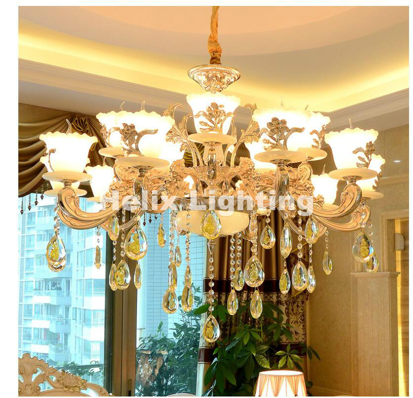 Free Shipping Gold Zinc Alloy Simulated Jade LED Crystal Chandeliers Lighting Fixtures With 6L/8L/10L/12L/15L For Home Lighting best price rectangular crystal chandeliers k9 crystal ceiling lamp lighting fixtures restaurant led lighting e14 free shipping