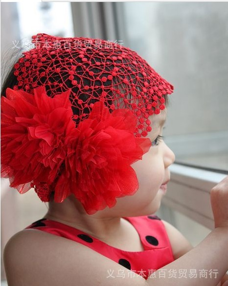 Free shipping!Wholesale embroidery big flower princess baby headband elastic infant hairband Girl's Head Accessories