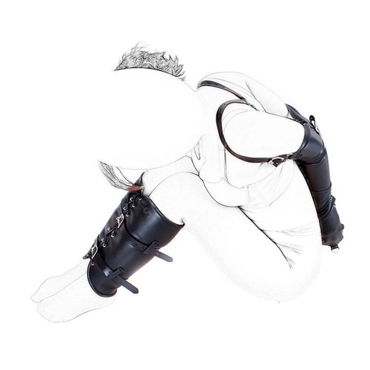 Fetish Bondage Restraint Kits Arm Cuff & Leg Binder Hand Wrist Ankle Bound Slave Restraint Set PU Leather Role Play Sex Products