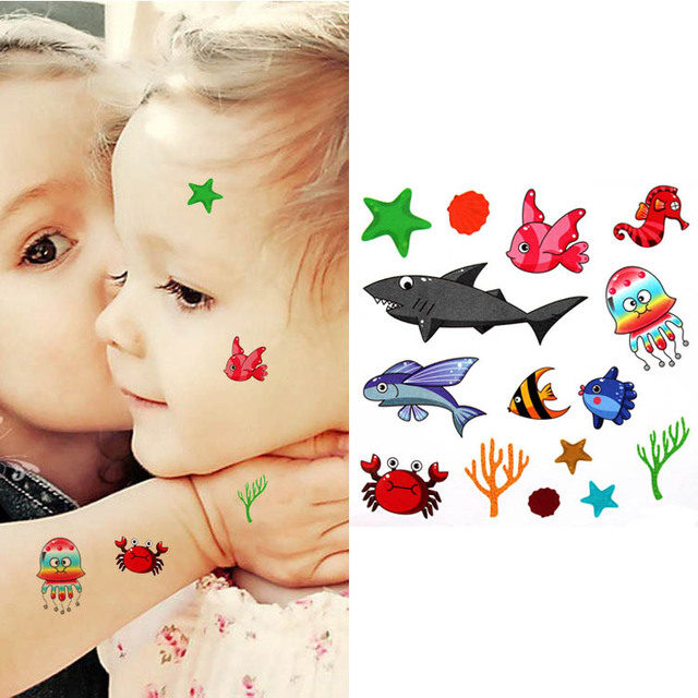 Children Colorful Body Art Lovely Cute Fish Fake Stickers For Kids
