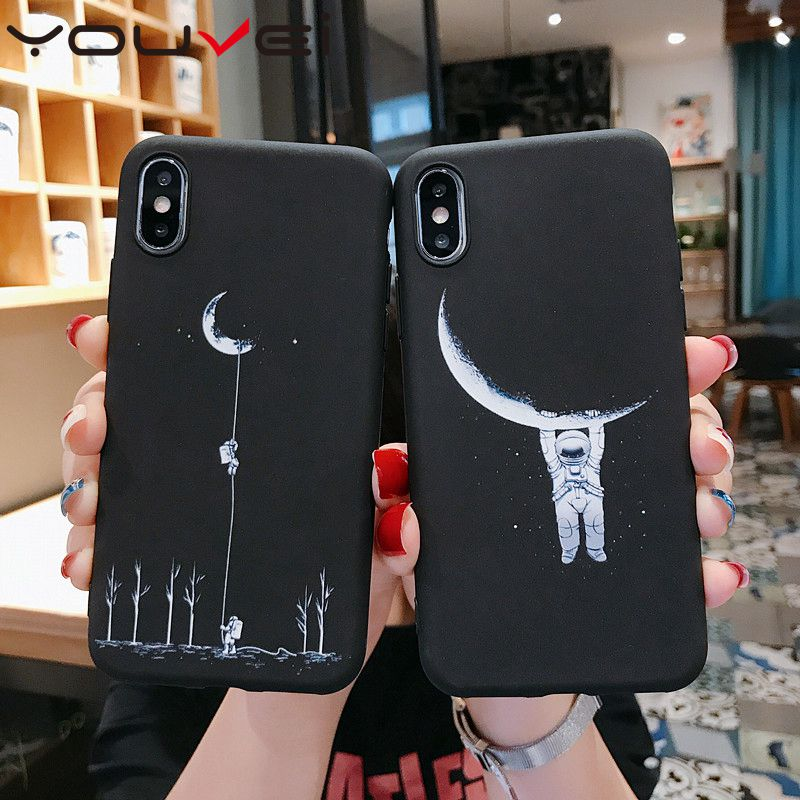 YOUVEI Case For Coque iphone 7 XS MAX Case Black Soft TPU Back Cover For iphone 6 6S 7 8 Plus iphone X XR Case Cover Phone Case in Fitted Cases from Cellphones Telecommunications