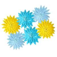 HAOCHU 6pcs Set Yellow Blue Wheel Fans Paper Flowers Balls Party Decor Craft For Bar Birthday